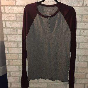 Grey and Maroon Aeropostale long sleeve shirt